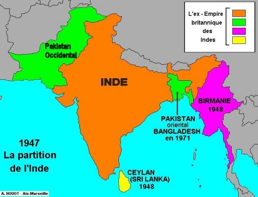 Carte Inde Pakistan.Partition D Inde